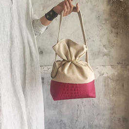 leather & canvas  bag (pink)
