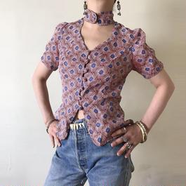 1970s Tribal print blouse