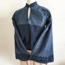 Vintage Hungarian indigo folk blouse