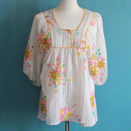 1970s flower printed blouse