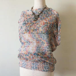 1980s multi colour summer knit top