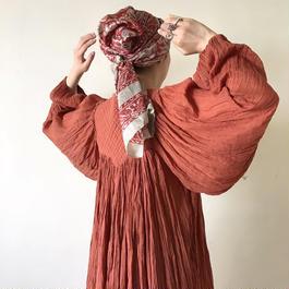 1970s Indian cotton orange dress