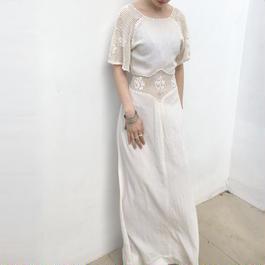 1970s white cotton maxi dress