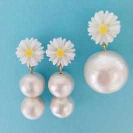 マーガレット×コットンパールピアス(1drop pearl or 2 drops pearl)
