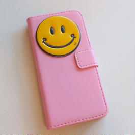 ピンク手帳型ニコちゃん携帯ケース