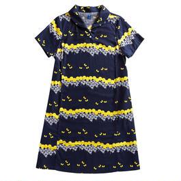 衿付き半袖ワンピース 菊と蝶