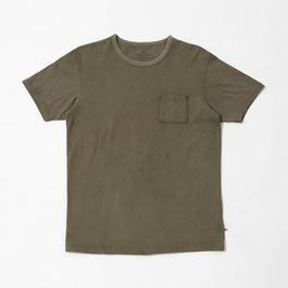USAコットン16/-吊り編み天竺×天然染料染めポケットTシャツ 海松色