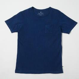 USAコットン16/-吊り編み天竺×自然建て琉球藍染めポケットTシャツ AI