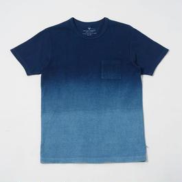 USAコットン16/-吊り編み天竺×自然建て琉球藍染めポケットTシャツ AISORA