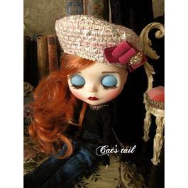 ドールサイズ・上質イタリア製ツイードのベレー帽