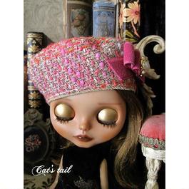 ドールサイズ・一点物・イタリア製ツイードのベレー帽