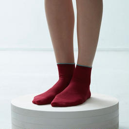crispy cotton fine ribbed short socks