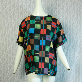 Vintage【CAROL HORN work shop】 Colorful Square Silk Tops