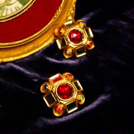 1980's Vintage Robert Rose Color Stone Earrings