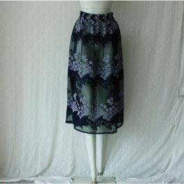 【AHCAHCUM/あちゃちゅむ】  お花刺繍ロングスカート