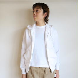 YAECA WOMEN ジップパーカー WHITE