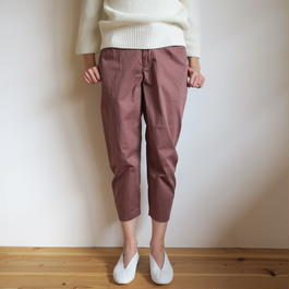 YAECA WOMEN tuck pants BROWN