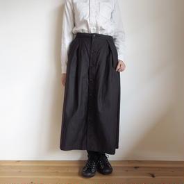 FWK by ENGINEERED GARMENTS Tuck Skirt-Cotton Reversed Sateen BLACK
