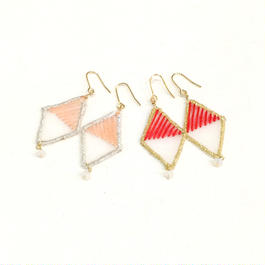 patterie*crack diamond earring/earring*pink*red*