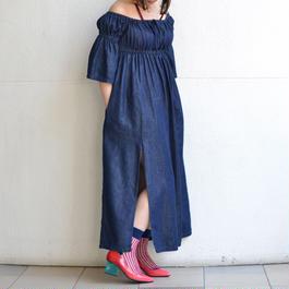 GOEN.J / DENIM SLIT DRESS
