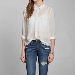 Abercrombie & Fitch シフォンシャツ white