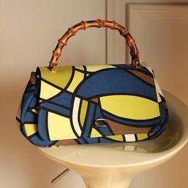 ピケ素材*バンブー持ち手ハンドバッグ   ブルー