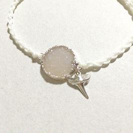 Drusy Quartz × Shark Tooth Bracelet