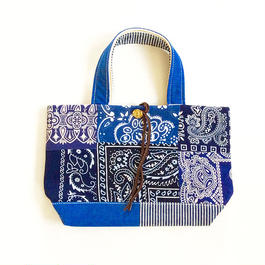 REMADE Patchwork TOTE BAG  Small Size. (S)バンダナBLUE