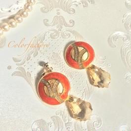 Venusヴィーナス(インポートボタンとスワロフスキーのピアス&イヤリング)