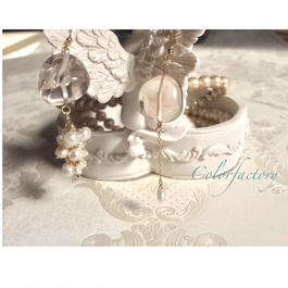 Crystal  Lilyクリスタルリリー(水晶タンブルと淡水パールのピアス&イヤリング)