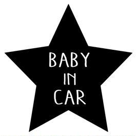 BABY IN CAR  ステッカー全12色  #星型塗手書き風文字