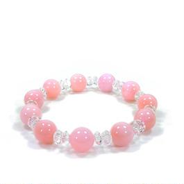 ピンクオパール、水晶ブレスレット