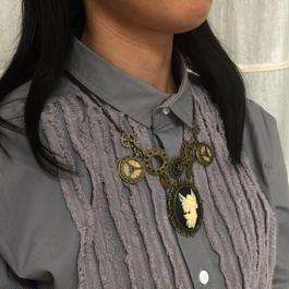 170210花と女神のカメオと歯車のネックレス/スチームパンク