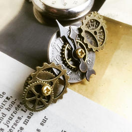 160929 小振りの時計の文字盤と歯車のバレッタno.20/スチームパンク