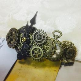 160926 時計の文字盤と懐中時計のバレッタno.19/スチームパンク