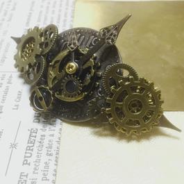 150423 大振りの歯車と繊細に飾った時計の針のバレッタno.8