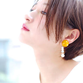 Big  silhouette pierce/earring YELLOW
