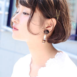 Big silhouette pierce/earring BLACK