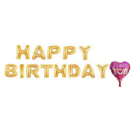 バルーン 誕生日 HAPPY BIRTHDAY 13文字セット バースデーパーティーグッズ アルファベット POP バルーン ゴールド 金 英字 文字 風船 誕生日 パーティー