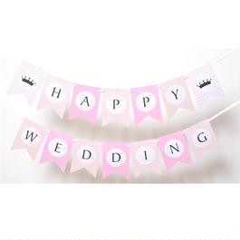 結婚式 ガーランド ウエディング HAPPY WEDDING ピンク  ウエディング グッズ 結婚式 小物 アイテム  ウエディングフォト ステッカー バナー
