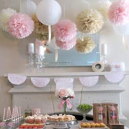 WEDDINGLAND ペーパーポンポン ハニカムボール ペーパーフラワー パーティー 小物 ウェディング 結婚式 装飾 ベージュ/ピンク/オフホワイト 6個セット
