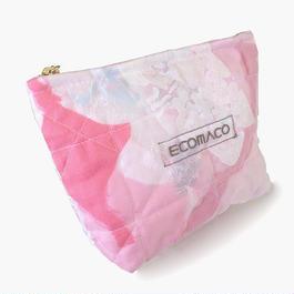 ステンドグラスのようなカラフル☆キルティングポーチ / ピンク