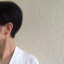 Rectangle earring, b27-60 /BK-BK