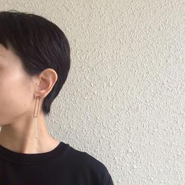 Rectangle earring, a40-42 /BK-SV