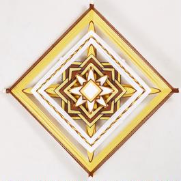 mandala woven yarn art (yellow / brown) 092