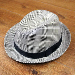 美品:【TAKEO KIKUCHI】グレンチェック・中折れ帽