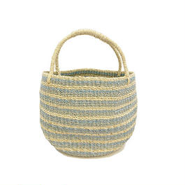 ワイルドバナナバスケット(ブルー)  Wild banana's fiber handwoven baskets(Blue)