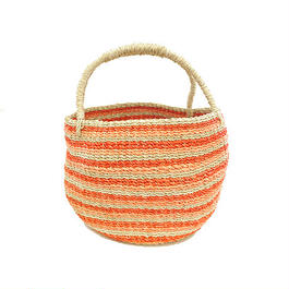 ワイルドバナナバスケット(ピンク)  Wild banana's fiber handwoven baskets(Pink)