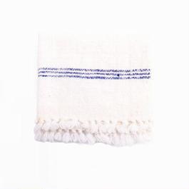 手紬ぎハンドタオル (青ストライプ)  Handspun hand towel (blue)