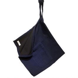 ラオスの手織り藍染め 前かけエプロン(短丈)